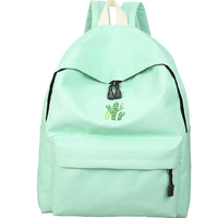 2017 Candy Color Cactus Embroidery Simple Canvas Backpack Students School Bag Women Girl Rucksack Mochila Escolar