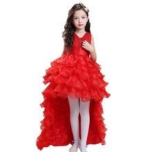 Платья с цветочным узором для девочек детское элегантное бальное платье со шлейфом на свадьбу детское вечернее платье Vestido Comunion LS003TW