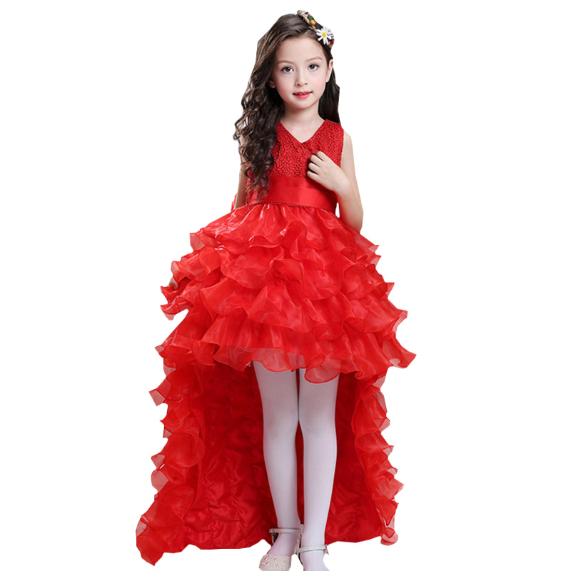Retail Flower Girl Dresses For Weddings Elegant Trailing Gown Girls Princess Dress Kids Evening Party Ball Gowns LS003TW