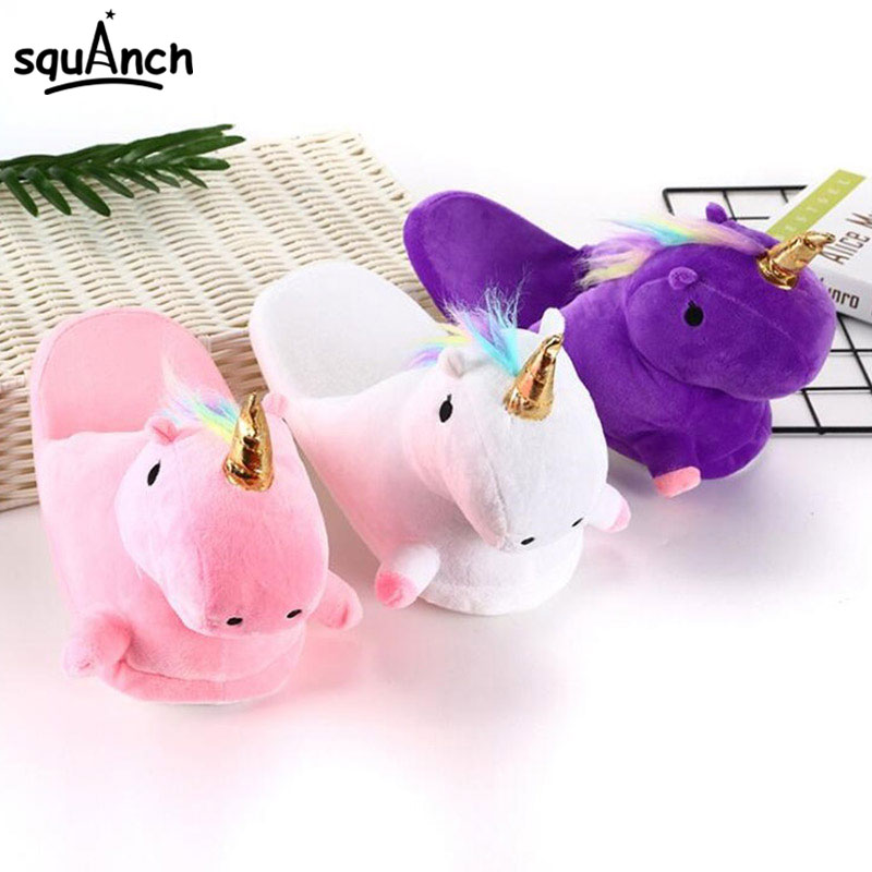 Unicorn Kugurumi Slippers Cartoon Animal Cosplay Plush Slipper Adult Kid Unisex Kawaii Funny Shoes Festival Party Home Wear