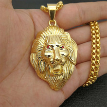Hiphop Lion Head Necklaces Pendants For Men Gold Color Stainless Steel Box Chain Male Necklace Jewelry