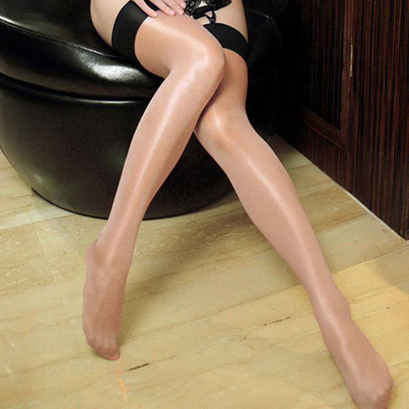 Women's Multi-color Oil Shine Shiny Thigh High Stockings Sexy Ladies Collant Lolita Glitter Lustre Legs Rib Top Opaque 0908