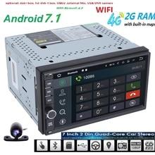 Libre de la Cámara del Androide 7.1 2 GB RAM 1024*600 Del GPS Del Coche 2Din Radio Universal coches Reproductor de DVD Doble Din Estéreo del coche GPS radio 4G WIFI CAM