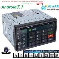 Free Camera Android 7.1 2GB RAM 1024*600 Car GPS 2Din Radio Universal Car DVD Player Double Din Stereo GPS car radio 4G WIFI CAM