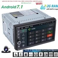 Gratis Camera Android 7.1 2 GB RAM 1024*600 Auto GPS 2Din Radio Universele auto Dvd-speler Dubbel Din Stereo GPS autoradio 4G WIFI CAM