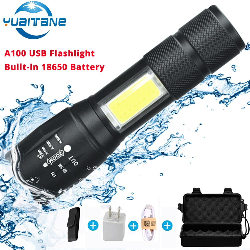 A100 USB Rechargeable Built-in 18650 LED Flashlight 8000Lum 4Modes LED COB+T6 L2 LED Torch Zoom Led Flashlights Lamp 2018 Newest