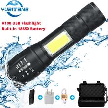 A100 USB Rechargeable Built-in 18650 LED Flashlight 8000Lum 4Modes COB+T6 L2 Torch Zoom Led Flashlights Lamp 2018 Newest