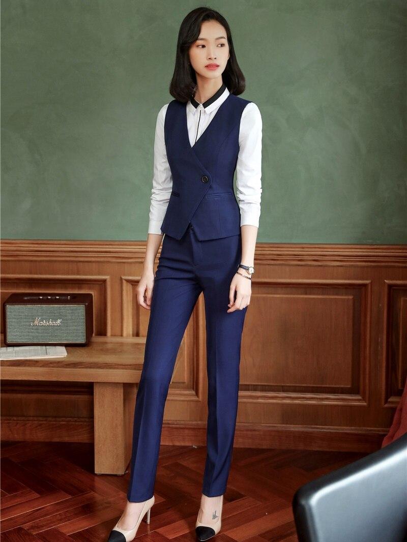 Aliexpress.com  Comprar Nuevo 2019 señoras chaleco y chaleco mujer negocios  trajes con pantalones y Top Sets trabajo uniformes estilos Azul Marino de  ... 755609148257