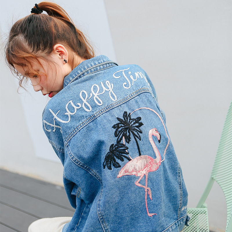 Bird Embroidered Letter Denim Blue Simple Fashion Vintage Casual All Match 2018 Winter New Long Sleeve Female Jackets 1
