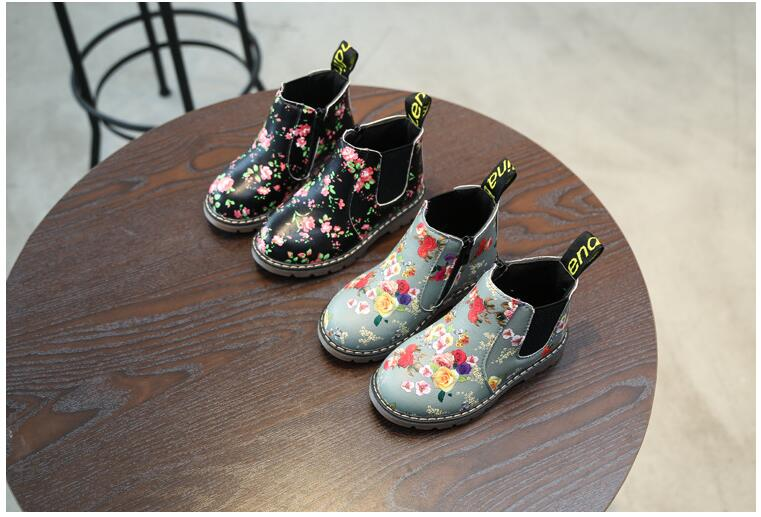 KKABBYII Girls Princess Shoes New Autumn Winter printing Children Pu Leather Boots Fashion Kids Ankle Motorcycle Boots EU 21-36