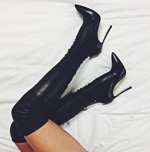 Hot Selling Brand Black Leather Point Toe Thin Heels Over The Knee Sexy Women Long Booties Winter Free Shipping  цены