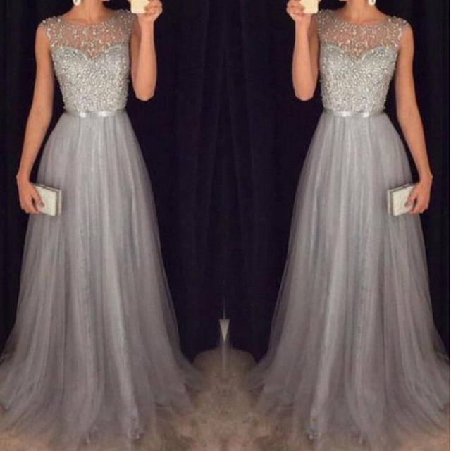 2c1e919258 US $149.0 |Exquisite Beading Sash Gray Prom Dress Tulle Long Prom Dresses  2019 Vestido De Festa Sexy Evening Gowns Women Party Dresses-in Prom  Dresses ...