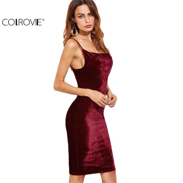 COLROVIE Европейский Стиль Женщины Платье Сексуальная Bodycon Платья Новое Прибытие Бургундия Бархат Cami Платье Оболочки