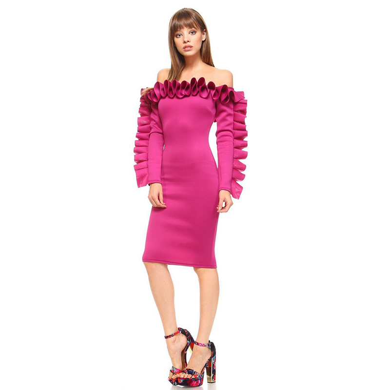 Plus Size Street Fashion Off Shoulder Ruffles Party Dress Female Rose Long Sleeve Wrapped Club Bodycon Dress Vestidos Ropa Mujer