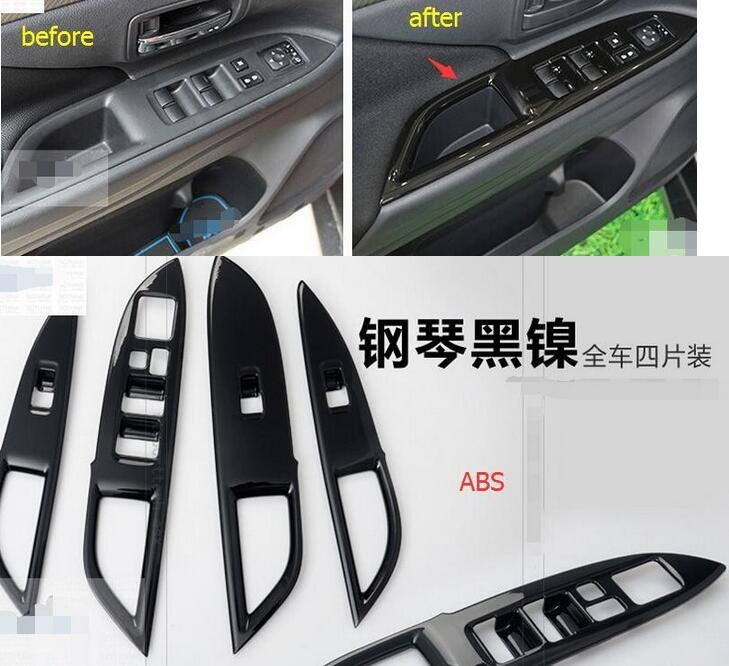 For Mitsubishi Outlander 2015 2016 Black! ABS Window Glass Lift Switch Button Cover Trim 4pcs roger kp 14