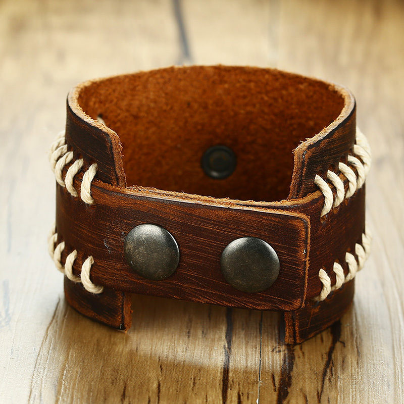 Brown Leather Cuff Bracelet With Iron Cross Charm Brackelts For Men Wristband Knight S Crucifix Adjule Male Biker Jewelry In Bracelets From