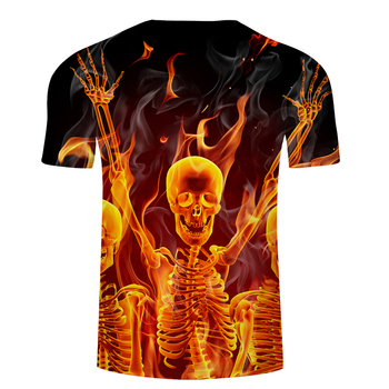 Fire&Skull 3D t shirt Men tshirt Fire Summer T-Shirt Casual Tees Short Sleeve Tops Groot Camiseta Hip Hop Asian size s-6xl 1
