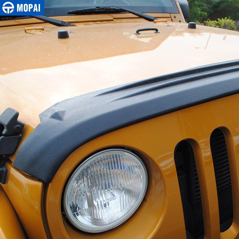 MOPAI ABS Auto Vorne Hinten Grille Motor Sand Stein Block Wind Air Deflektor Schild Abdeckung Aufkleber für Jeep Wrangler JK 2007 2017 - 5