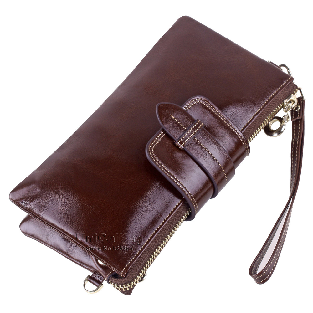 ФОТО New style Genuine Leather Women Wallets Long Multifunctional Large Capacity wallet chain messenger bag Solid color women purse