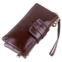 New style Genuine Leather Women Wallets Long Multifunctional Large Capacity wallet chain messenger bag Solid color women purse