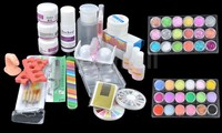 BTT 95 Hot Sale Acrylic Glitter Powder Glue File French Nail Art UV Gel Tips Kit Set Dust Stickers Brush