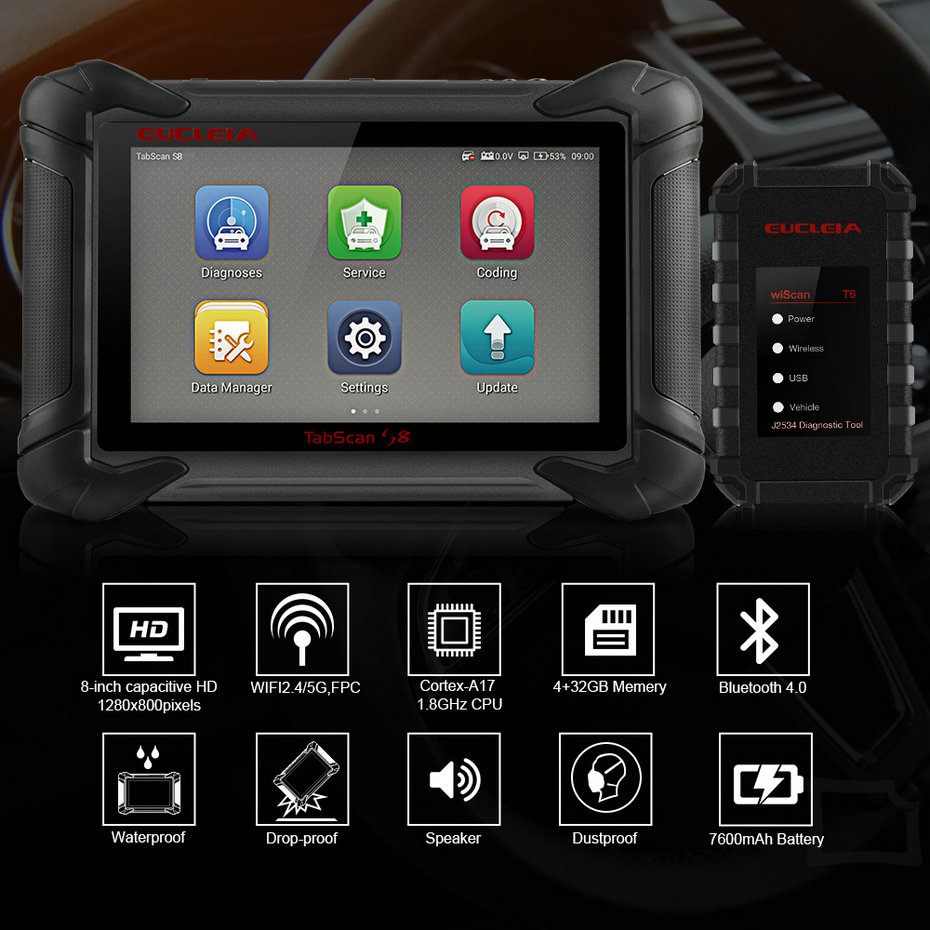 Image 2 - EUCLEIA S8 OBD2 Automotive Scanner ECU Programming and Coding Bluetooth WiFi Full System OBD Diagnostic OBDII Scan Tool-in Engine Analyzer from Automobiles & Motorcycles on