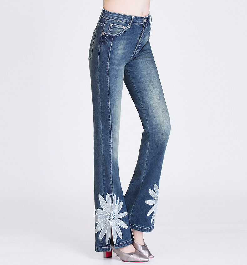 FERZIGE Womens Jeans with Embroidery Big Flowers Boot Cut Split Open Bells Flared Trousers Push Up
