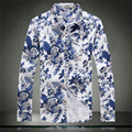 Chinese style exquisite blue and white flowers pattern boutique men 2016 New arrival fashion casual high-end men shirt M-5XL