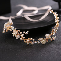 New Bride Headdress The Bride Manual Imitation Pearl Crystal Hair Band Wedding Bride Tire Manufacturers Selling
