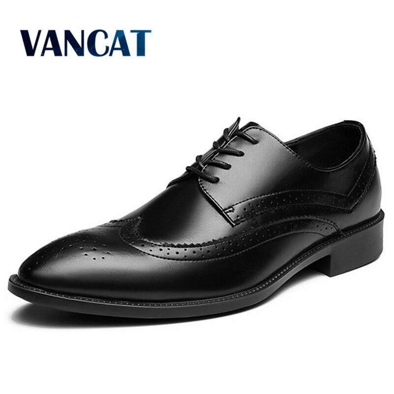 Vancat Brand Classic Man Pointed Toe Dress Shoes Mens Patent Leather Black Brogue Shoes Wedding Shoes Oxford Formal Shoes