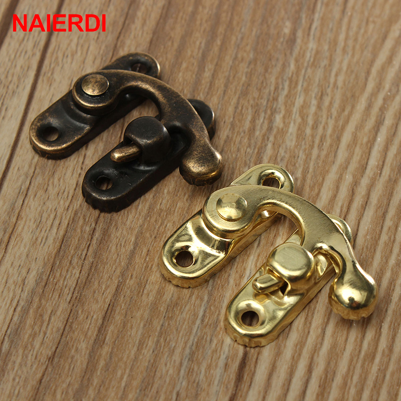 10PCS NAIERDI Small Antique Metal Lock Decorative Hasps Hook Gift Wooden Jewelry Box Padlock With Screws For Furniture Hardware