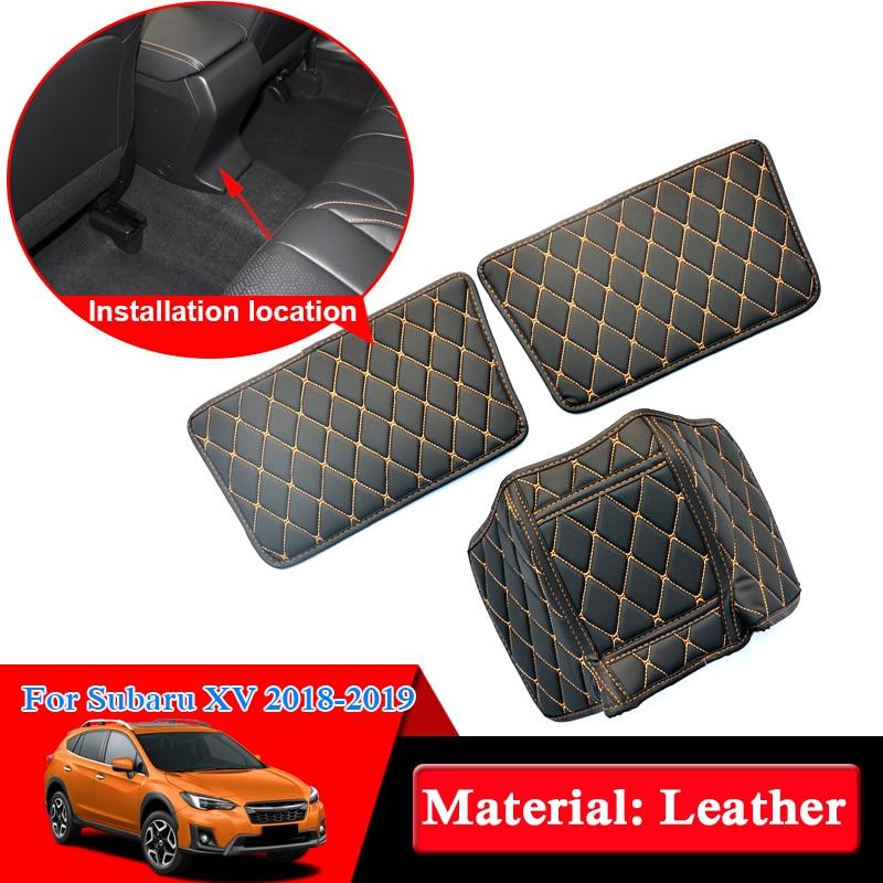 Car Styling 3pcs Leather Seat Back Anti Kick Mats For Subaru XV 2018 2019 Anti Child