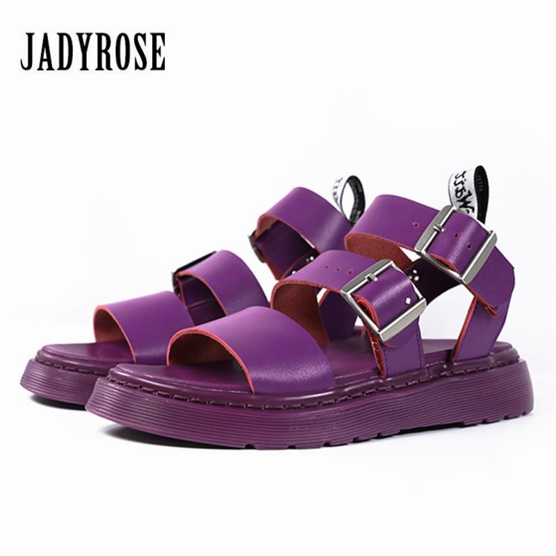 Jady Rose violet femmes sandales en cuir véritable décontracté chaussures plates femme été chaussures de plage plate-forme sandale appartements dames chaussures
