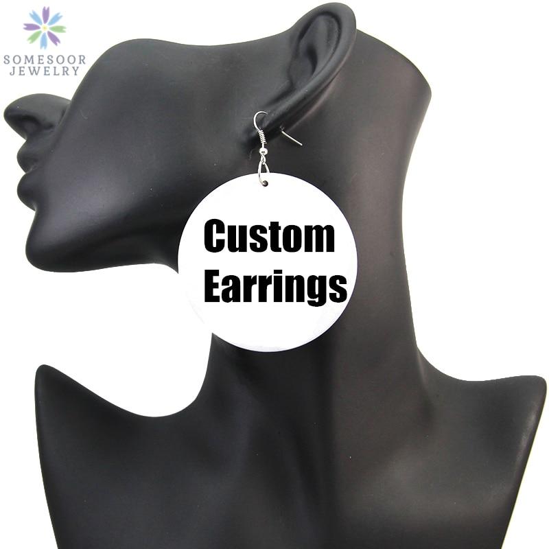 SOMESOOR Personalized Afro Wood Drop Earrings 6cm African Blacks Art Custom Printed Jewelry No MOQ F