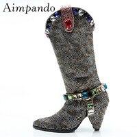 Модные сапоги до колена ручной работы со стразами, женские высокие сапоги на высоком каблуке шпильке с острым носком, украшенные кристаллам