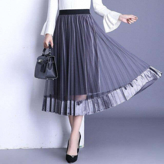 c032648f03 2017 autumn winter new half skirts gold velvet stitching net yarn pleated  long skirt Korean version
