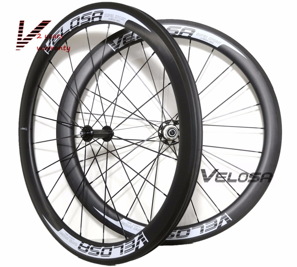 Velosa Sprint 50 bike carbon wheelset,50mm clincher/tubular 700C road bike wheel,2:1 carbon hubs,super light pillar 1420 spokes velosa supreme 50 bike carbon wheelset 60mm clincher tubular light weight 700c road bike wheel 1380g