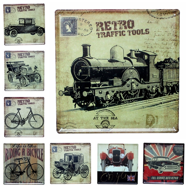 Attractive Retro Traffic Tools Vintage Car Tin Signs Wall Picture For Living Room Art Home  Decor Wholesale