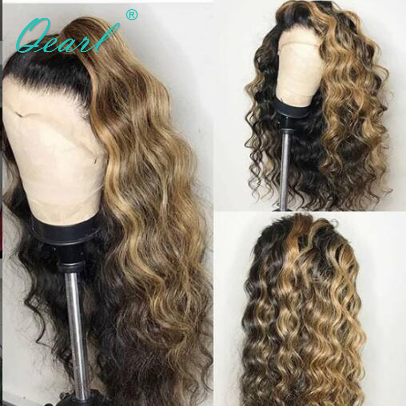 Ombre Highlight Colored Lace Front Human Hair Wigs With Baby Hair Free Part Brazilian Curly Remy Hair Preplucked 13x6 Qearl