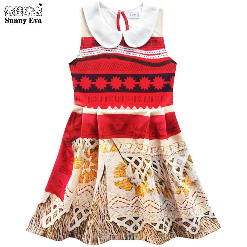 sunny eva moana party girl dress sleeveless robe princesse fille children clothing 2017 princess dresses for little girls cospla