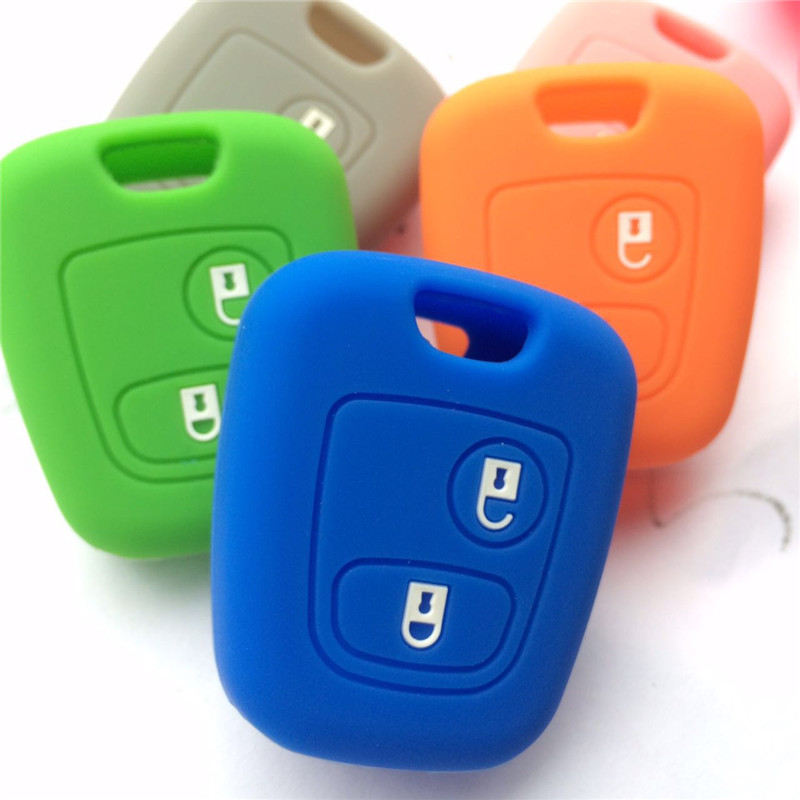 2 Button Silicone Rubber Car Кілті қақпағы Citroen үшін C1 C2 C3 Pluriel C4 C5 C8 Xsara Picasso автомобиль кілт