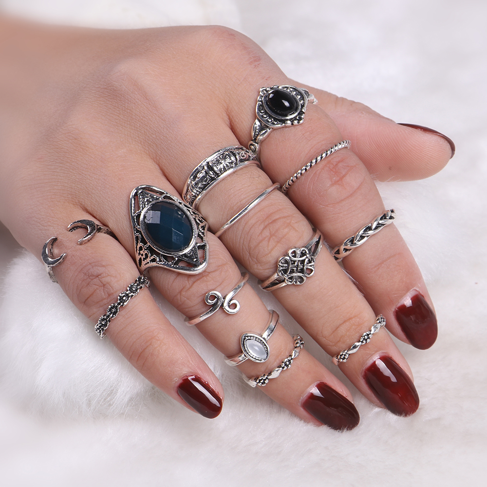 13 PCS/Set Vintage Punk Faux Stone 2017 New Collection Zinc Alloy Midi Knuckle Rings Set Silver Color Finger Women Rings