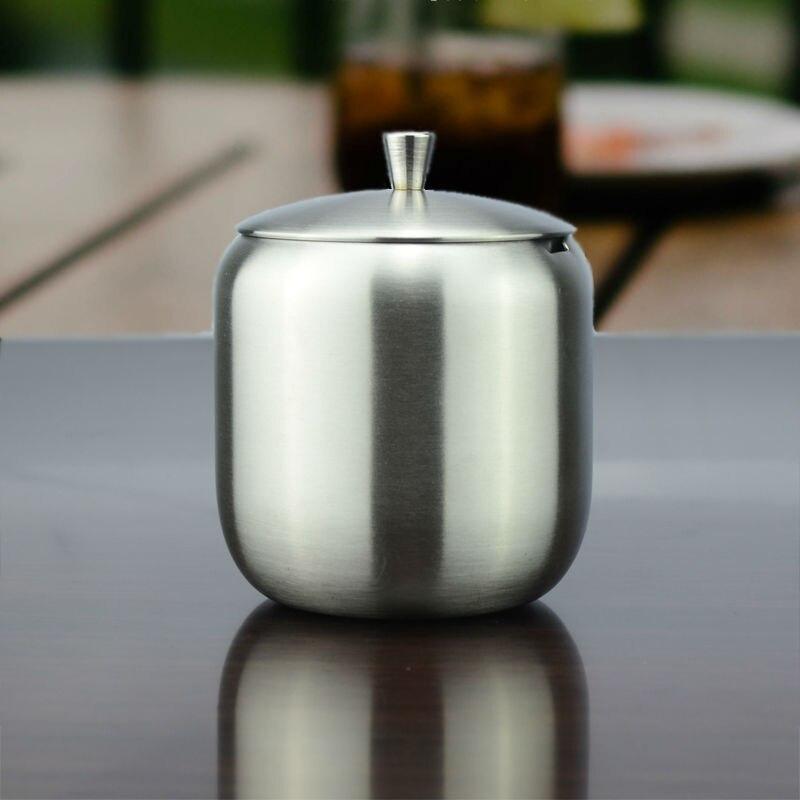 Free Shipping 350ML Stainless Steel Coffee Espresso <font><b>Sugar</b></font> Bowl <font><b>Sugar</b></font> Pot With Spoon Cover Drum Shape <font><b>Sugar</b></font> <font><b>Cup</b></font> Promotion