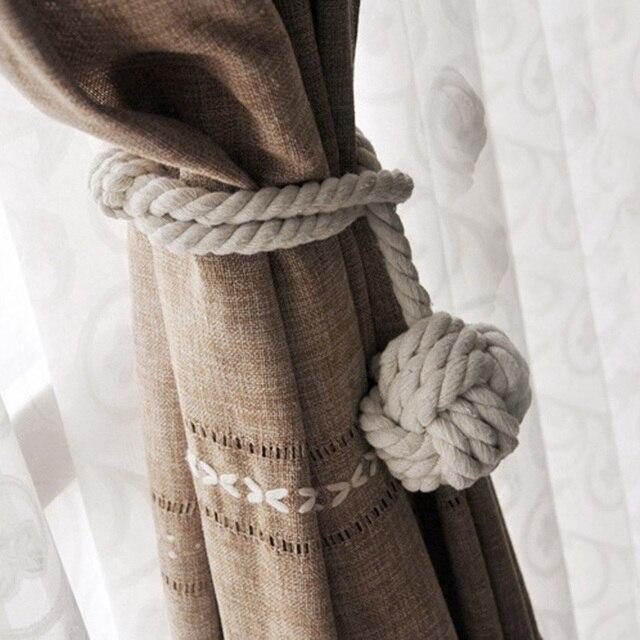 Curtain Holder Cotton Braided Tieback Rope Tiebacks Single Ball Drape Tie Backs Drapery Window