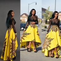 Skirt Summer Autumn 2017 hot African fashion printing top short after long flowing skirts