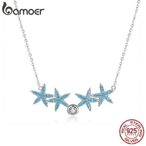 Image 4 - bamoer Ocean Blue Starfish Necklace Earrings Jewelry Sets Authentic 925 Sterling Silver AAA Zirconia Stone Jewelry ZHS118