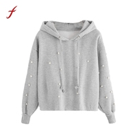Winter Sweatshirts For Women 2017 New Design Long Sleeve Pearl Decoration Bts Hoodies Harajuku Jumper Pullover