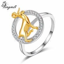 Lingmei bonito cervos estilo fashionjewelry zircon branco prata colorring tamanho 6 7 8 9 anéis de noivado do casamento jóias presentes