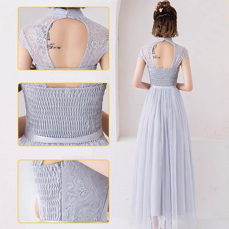 maid of honor fashion Lace Dresses Appliques Net yarn Bridesmaid Dresses Women Formal Party long Gowns in Bridesmaid Dresses from Weddings Events