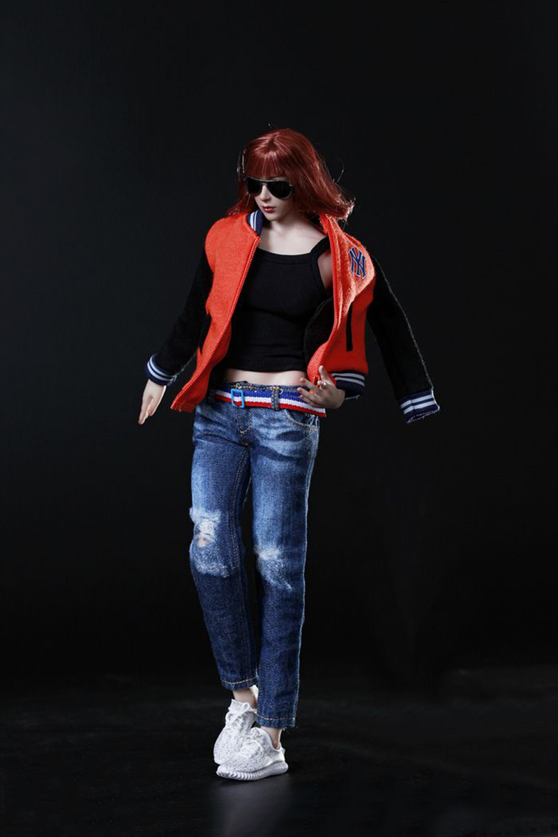 1 6th Female Baseball Clothes Suit with Shoes Red Orange Blue for 12 Collectible Action Figure